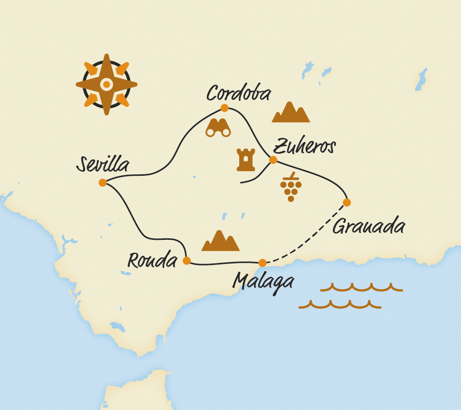 Andalusien Karte Flughäfen.Andalusien Rundreise Mit Dem Fahrrad E Bike Touren