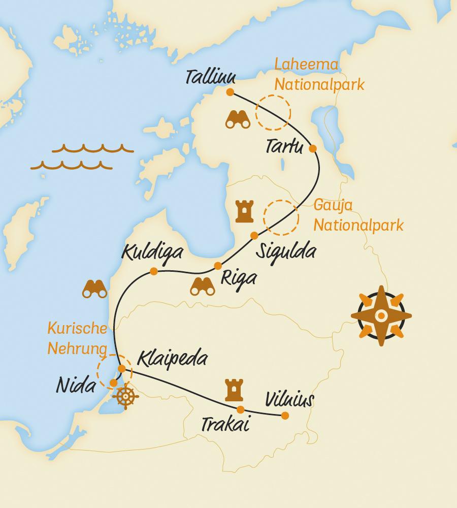 Kurische Nehrung Karte.Das Baltikum Mit Dem Fahrrad Grandiose E Bike Reise
