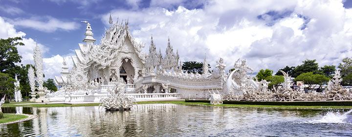 Thailand Sehenswürdigkeiten - Wat Rong Khun entdecken auf Ihrer E-Bike Reise durch Thailand