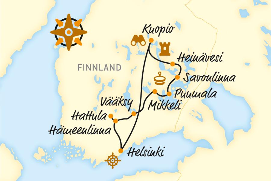 Finnland Karte Regionen.Finnland Reise Mit Dem Fahrrad E Bike Reise Online Buchen